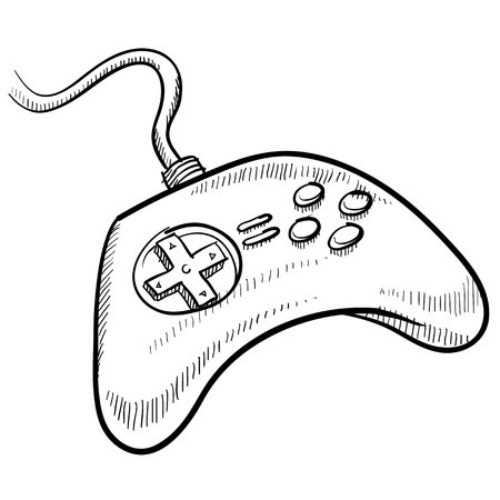 wii: Doodle style video game controller vector illustration