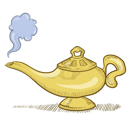 genio de la lampara: Doodle ilustración de estilo genio de la lámpara de Aladino de vectores Foto de archivo