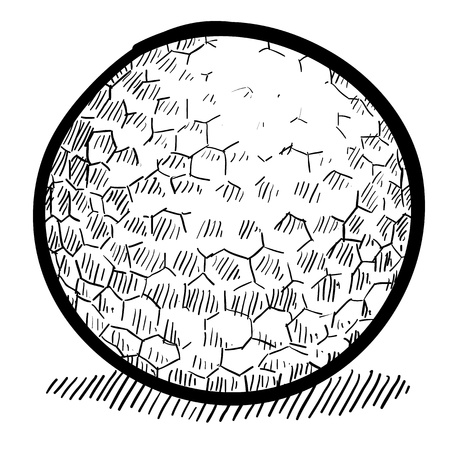 dimple: Doodle style golf ball vector illustration with dimple detail
