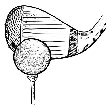 Doodle style golf vector illustration with club head, ball, and tee illustration