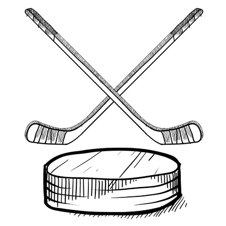 puck: Doodle style hockey vector illustration with sticks and puck