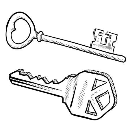 lock and key: Doodle style keys in vector format