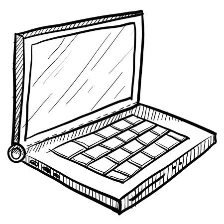 Doodle style computer laptop vector illustration Archivio Fotografico