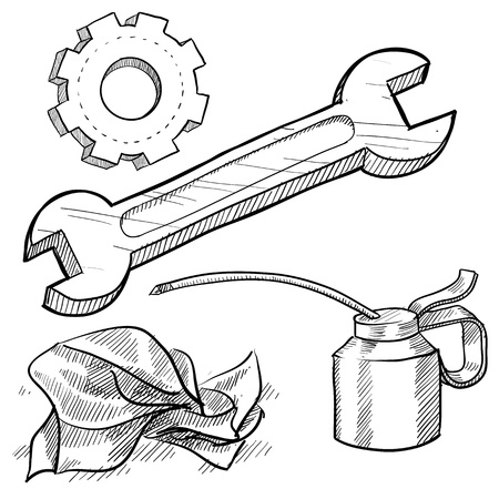 rag: Doodle style mechanic or car maintenance vector illustration with oil can, wrench, gear, and rag Stock Photo