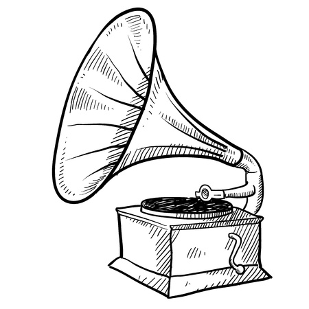 Doodle style antique phonograph or record player in vector format photo