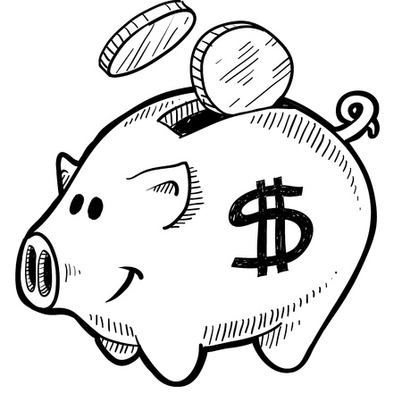 Doodle style piggy bank with dollar sign and coins in vector format Banco de Imagens