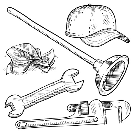 pipe wrench: Doodle style plumber or mechanic vector illustration with plunger, ball cap, tissue, wrench, and pipe wrench Stock Photo