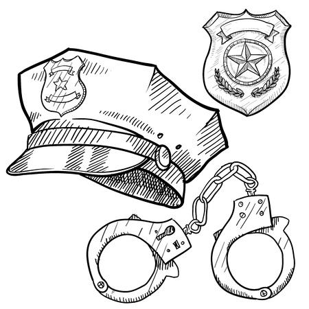 gorra polic�a: Doodle objetos de estilo polic�a en formato vectorial como sombrero, esposas y placa Foto de archivo