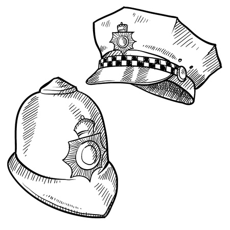 restraints: Doodle style police hat or and English bobby cap in vector format