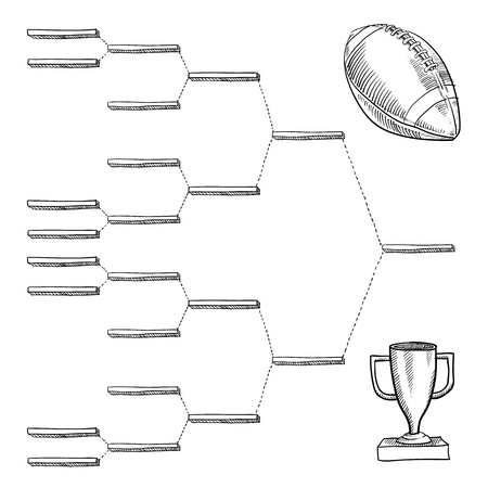 pigskin: Blank professional football playoff bracket - vector file with doodle style Stock Photo