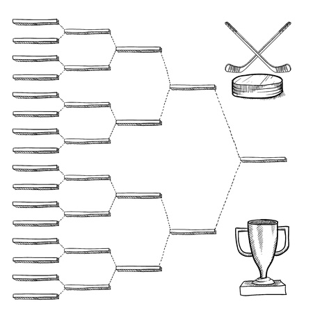 tournament bracket: Blank professional hockey playoff bracket - vector file with doodle style