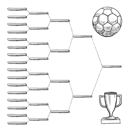 Blank international soccer playoff bracket - vector file with doodle style