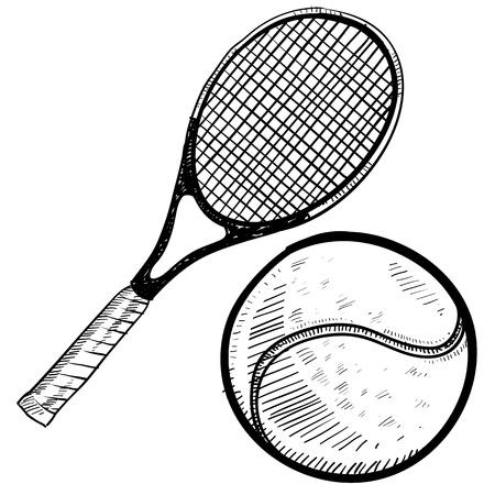 racquetball: Doodle estilo pelota de tenis y raqueta de ilustraci�n vectorial