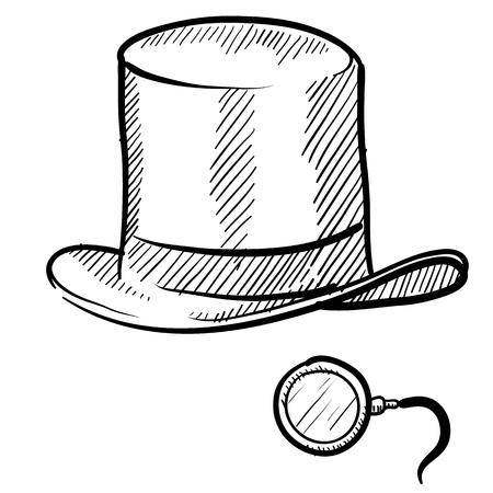 snobby: Cappello a cilindro in stile Doodle uomo ricco e monocolo in formato vettoriale Archivio Fotografico