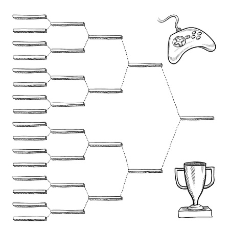 bracket: Blank video game tournament blank bracket - vector file with doodle style Stock Photo