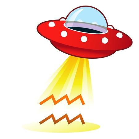platillo volador: Astrología Acuario zodiaco icono de señal de platillo volante retro OVNI con haz de luz. Adecuado para su uso en la web, en papel, y en los materiales promocionales.