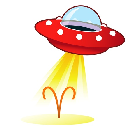 Aries zodiac astrology sign icon on retro flying saucer UFO with light beam. Stock Photo - 11575098