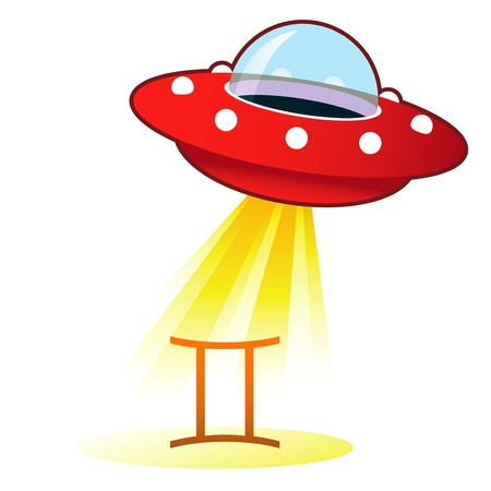 Gemini zodiac astrology sign icon on retro flying saucer UFO with light beam. photo