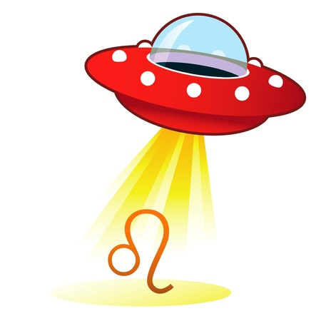 alien clipart: Leo zodiac astrology sign icon on retro flying saucer UFO with light beam.