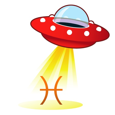 new age: Pisces zodiac astrology sign icon on retro flying saucer UFO with light beam.