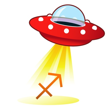 Sagittarius zodiac astrology sign icon on retro flying saucer UFO with light beam. photo