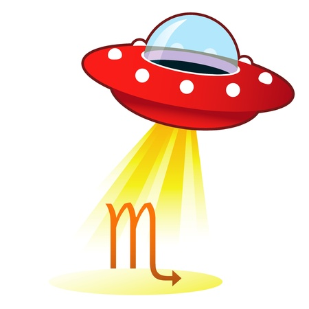 alien clipart: Scorpio zodiac astrology sign icon on retro flying saucer UFO with light beam.