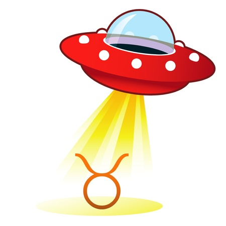 platillo volador: Icono de la astrología zodiacal Tauro signo de platillo volante retro OVNI con haz de luz. Foto de archivo