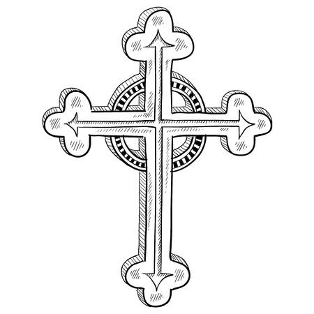 clergy: Doodle de estilo griego ilustraci�n cruz ortodoxa en formato vectorial Vectores