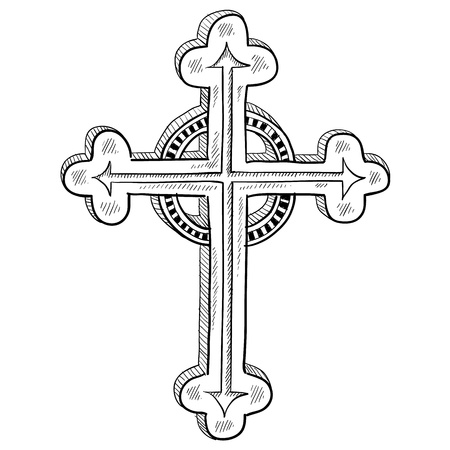 Doodle style Greek Orthodox cross illustration in vector format Vector