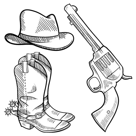 six shooter: Doodle style cowboy objects illustration in vector format including gun, hat and boots