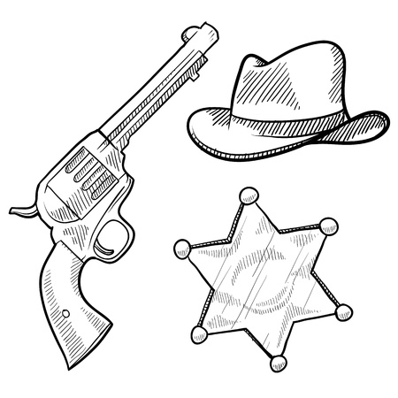 six shooter: Doodle style wild west cowboy and sheriff objects illustration in vector format including gun, badge and hat