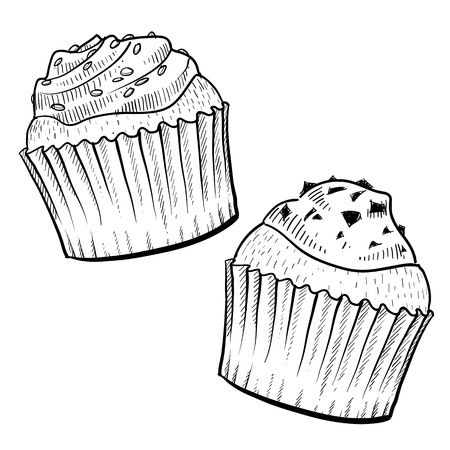 Doodle style cupcakes with frosting illustration in vector format Stock Vector - 11575065
