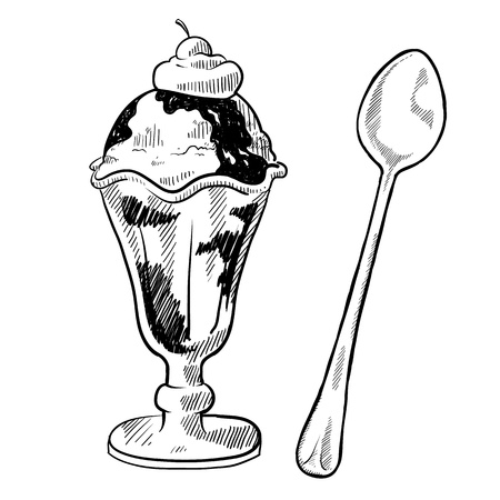 Doodle style ice cream sundae illustration in vector format