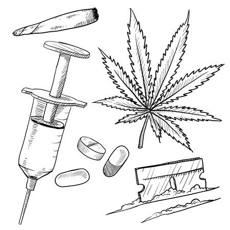 drogue: Doodle style d'illustration de drogues ill�gales en format vectoriel, y compris pot, l'h�ro�ne, la coca�ne, et des articulations