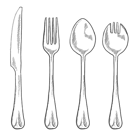 Doodle style eating utensils illustration in vector format including knife, fork, spoon, and spork