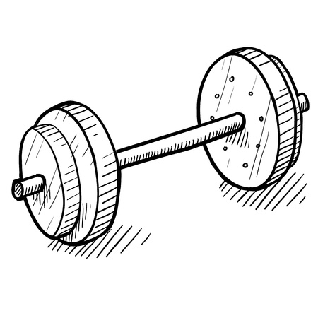 Doodle style barbell or dumbell illustration in vector format