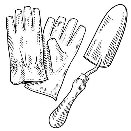 Doodle stijl tuingereedschap illustratie in vector-formaat