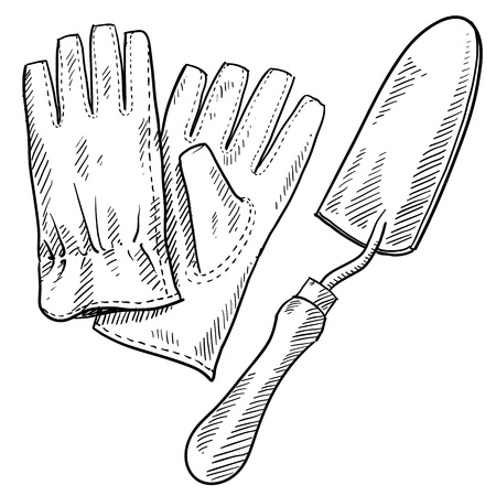 Doodle style gardening tools illustration in vector format