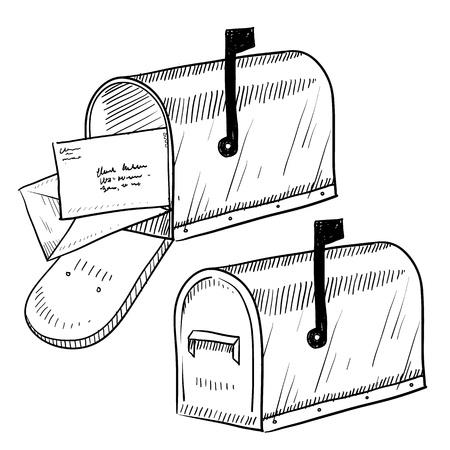 Doodle stijl mailbox of brievenbus illustratie in vector-formaat Stock Illustratie