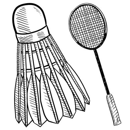 racquet: Doodle style badminton birdie and racquet