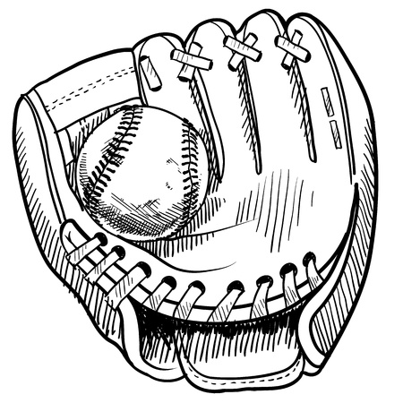 baseball glove: Doodle style baseball and glove Stock Photo