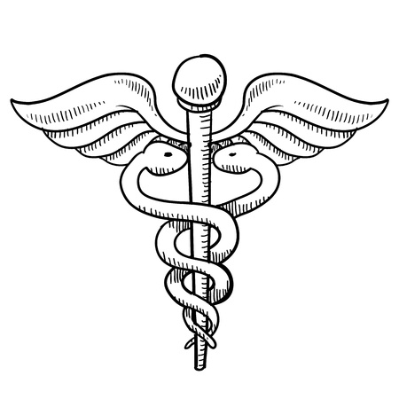 hippocratic: Doodle style medical symbol or caduceus Stock Photo