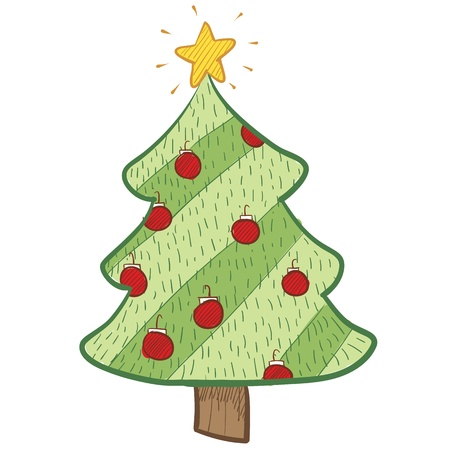 Doodle style colorful Christmas tree Stock Photo - 11670267