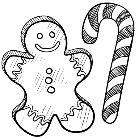 gingerbread: Doodle style Christmas gingerbread man and candy cane Stock Photo