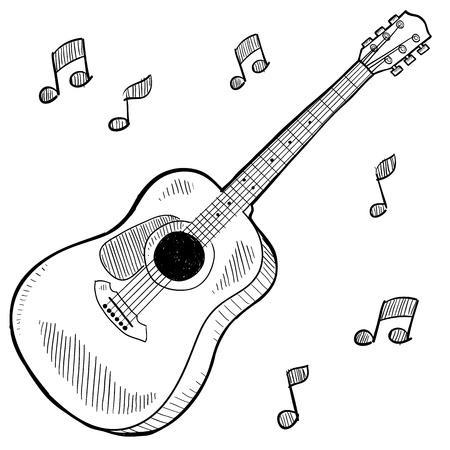 落書きスタイル アコースティック ギター 写真素材