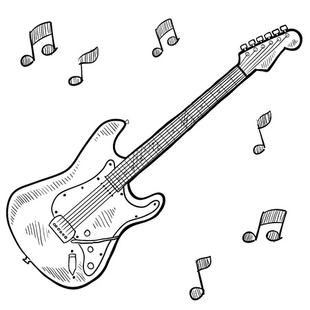 Doodle style electric guitar photo