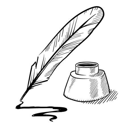 feather quill: Doodle style feather quill pen and ink well illustration in vector format