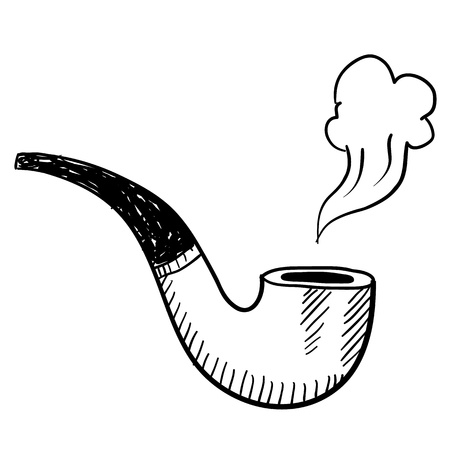 tobacco pipe: Doodle style tobacco pipe with smoke