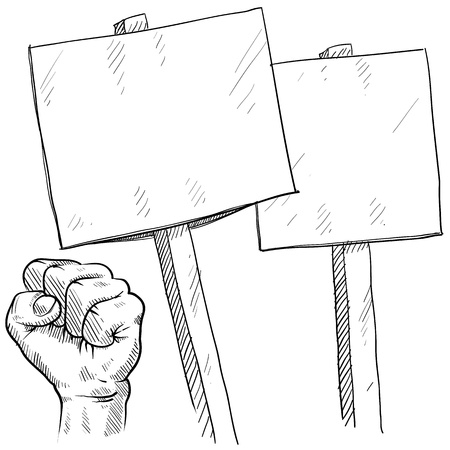 civil rights: Doodle style picket or protest illustration in vector format