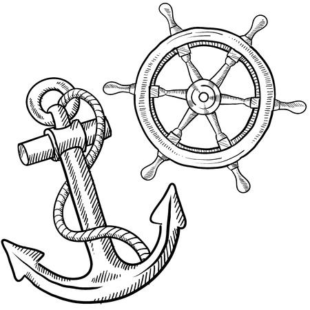 barca da pesca: Doodle stile navi all'ancora e illustrazione ruota in formato vettoriale Archivio Fotografico